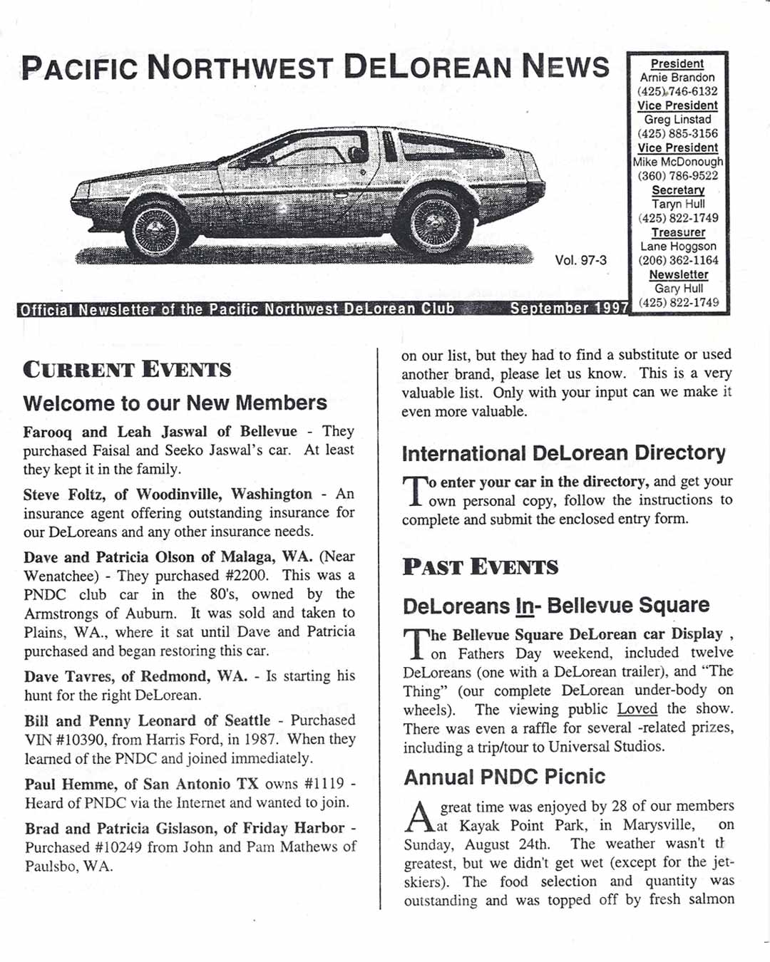 Pacific Northwest DeLorean Club newsletter from September 1997 | DMC10515.com